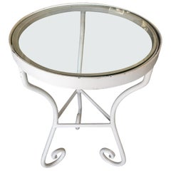 Restored Woodard Round Glass Top Scrolling Steel Outdoor/Patio Side Table