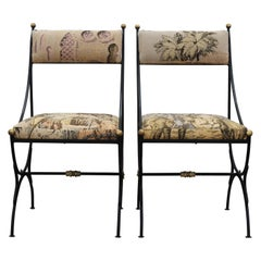 Restored Wrought Iron French Tapestry and Brass Side Chairs