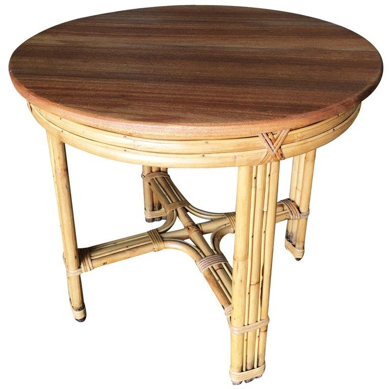 Mid-Century Modern Restored X Pattern Round Rattan End Table with Mahogany Top For Sale