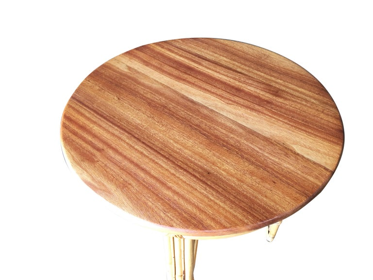 American Restored X Pattern Round Rattan End Table with Mahogany Top For Sale