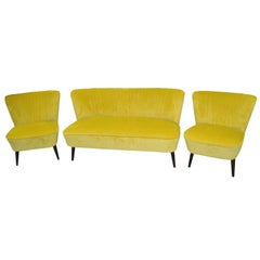 Restored Yellow Club Sofa, 1950s
