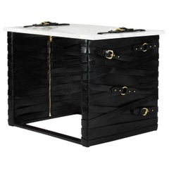 Restraint Accent Table in Steel, Calacatta Gold Marble with Dual Leather Panels