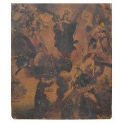 Retablo Spanish Religious Painting on Tin, 19th Century