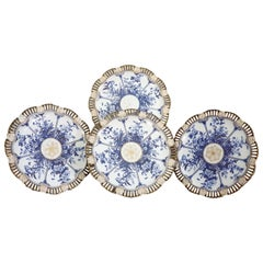 Reticulated Floral Panelled Lotus English Coalport Set Of 4 Cabinet Plates