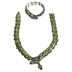 Reticulated Silver and Enamel Serpent Necklace and Bracelet by Jerónimo Fuentes