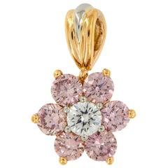 Retired Argyle Mine 0.79 Carat Fancy Pink Diamond 18K Rose Gold Platinum Pendant