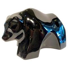 Retired Baccarat France Black Crystal Modernistic Bear Figurine