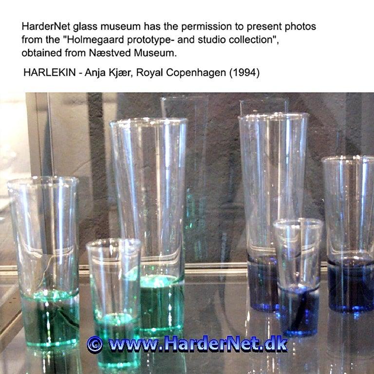 Danish Mid-Century Modern Blue Glasses, Design Anja Kjaer, Holmegaard, Royal Copenhagen For Sale