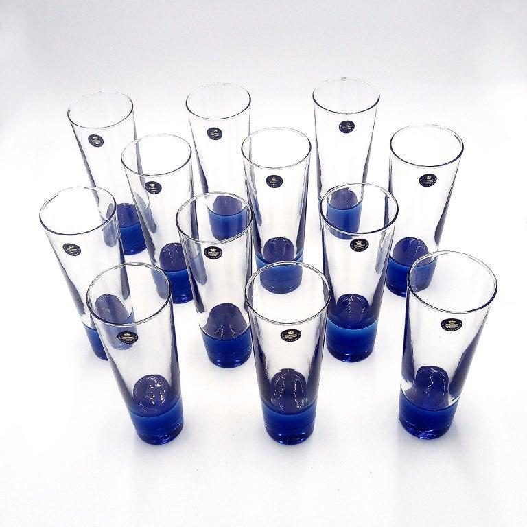 Mid-Century Modern Blue Glasses, Design Anja Kjaer, Holmegaard, Royal Copenhagen Twelve beer glasses of the series