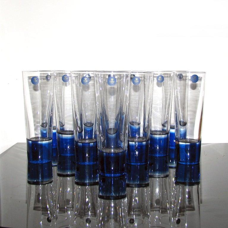 Late 20th Century Mid-Century Modern Blue Glasses, Design Anja Kjaer, Holmegaard, Royal Copenhagen For Sale