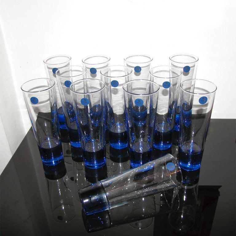 Mid-Century Modern Blue Glasses, Design Anja Kjaer, Holmegaard, Royal Copenhagen For Sale 1