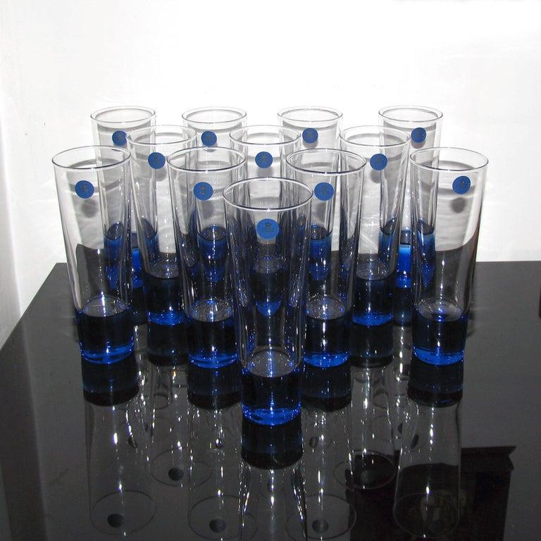 Mid-Century Modern Blue Glasses, Design Anja Kjaer, Holmegaard, Royal Copenhagen For Sale 2