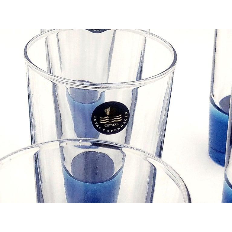 Mid-Century Modern Blue Glasses, Design Anja Kjaer, Holmegaard, Royal Copenhagen In Excellent Condition For Sale In Bochum, NRW