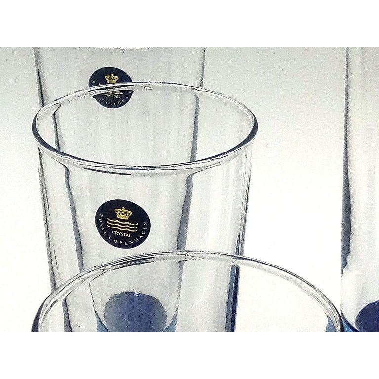 Mid-Century Modern Blue Glasses, Design Anja Kjaer, Holmegaard, Royal Copenhagen For Sale 3