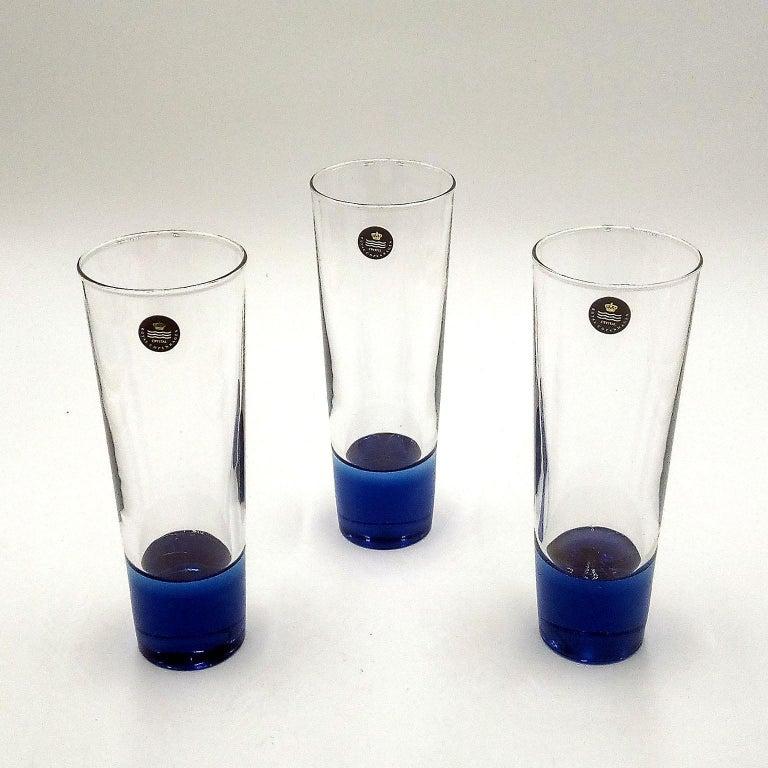 Mid-Century Modern Blue Glasses, Design Anja Kjaer, Holmegaard, Royal Copenhagen For Sale 4