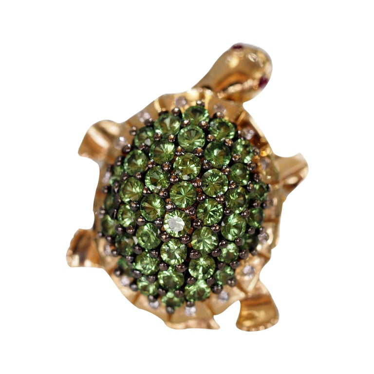 Turtles And Tails Master Bedroom Before And After: Retired Levian Tsavorite Turtle Dancing Ring For Sale At