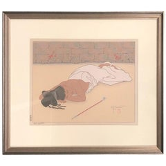"""Retour d'un Banquet"" Japanese Woodblock Print by Paul Jacoulet"