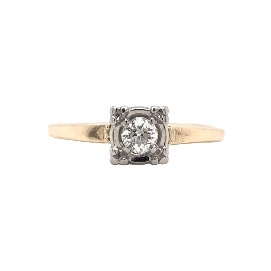 Retro 0.16 Carat Diamond Solitaire Ring