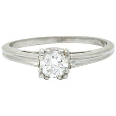 Retro 0.33 Carat Diamond Platinum Cathedral Basket Engagement Ring
