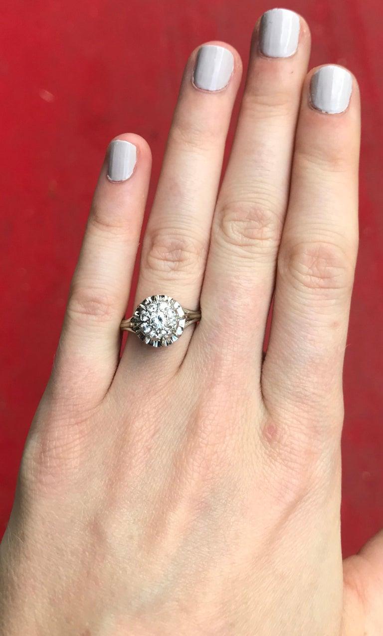 Round Cut Retro 0.35 Carat 9 Diamonds Solitaire 18 Karat White Gold Ring For Sale