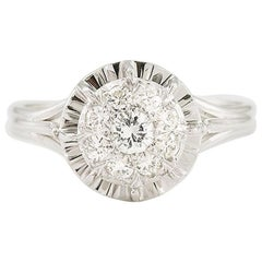 Retro 0.35 Carat 9 Diamonds Solitaire 18 Karat White Gold Ring