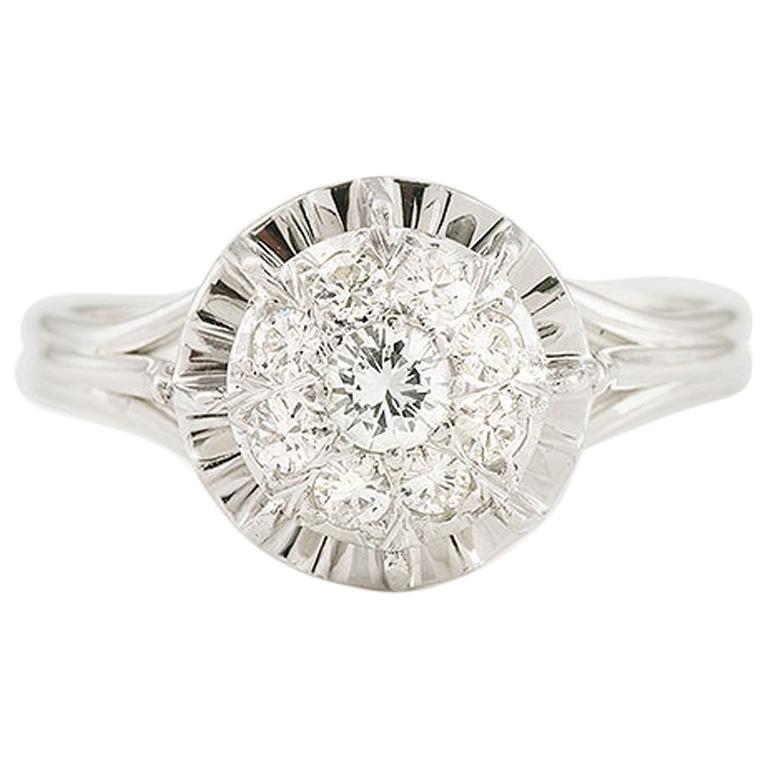 Retro 0.35 Carat 9 Diamonds Solitaire 18 Karat White Gold Ring For Sale