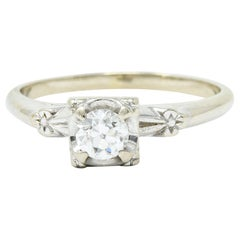 Retro 0.40 Carat Diamond 14 Karat White Gold Blossom Engagement Ring