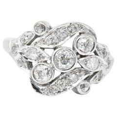 Retro 0.40 Carat European Diamond and 14 Karat White Gold Ring