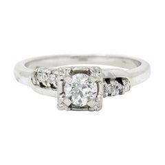 Retro 0.40 Carat Old European Cut Diamond 14 Karat White Gold Engagement Ring
