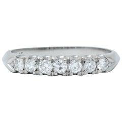 Retro 0.45 Carat Diamond Platinum Fishtail Anniversary Band Ring