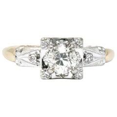 Retro 0.55 Carat Diamond Platinum-Topped 14 Karat Gold Engagement Ring
