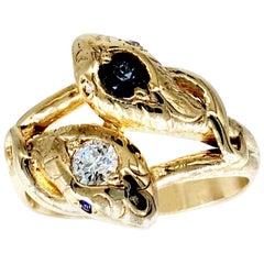 Retro 0.60 Carat Diamond and Sapphire Snake Ring 18 Karat Gold