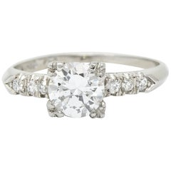 Retro 0.68 Carat Diamond Platinum Fishtail Engagement Ring