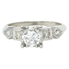 Retro 0.75 Carat Diamond Platinum Geometric Engagement Ring