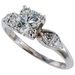 Retro 0.75 Carat Diamond Solitaire Palladium Engagement Ring