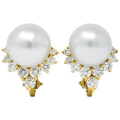 Retro 0.76 Carat Diamond Cultured South Sea Pearl 18 Karat Gold Earrings