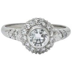 Retro 0.80 Carat Diamond Platinum Cluster Engagement Ring