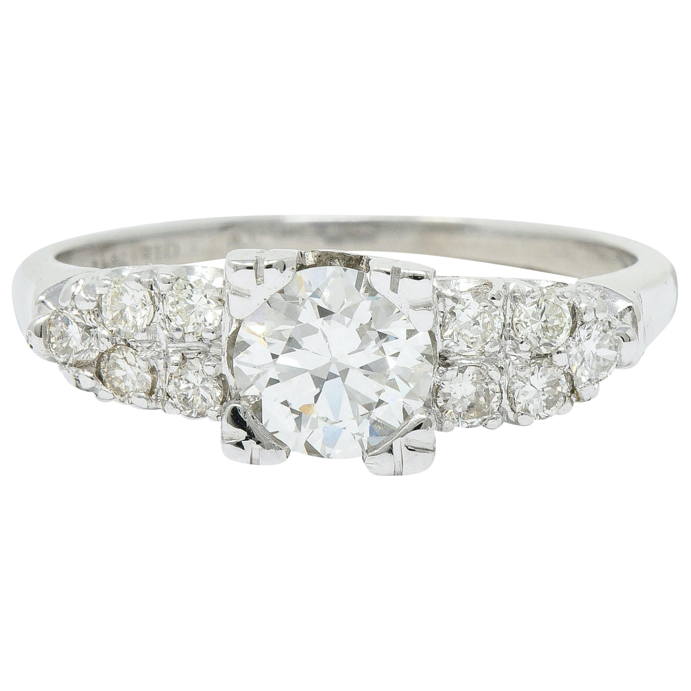 Retro 0.90 Carat Diamond Platinum Fishtail Cluster Engagement Ring