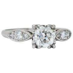 Retro 0.90 Carat Old European Cut Diamond Platinum Engagement Ring