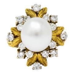 Retro 0.95 Carat Diamond South Sea Pearl 18 Karat Gold Cluster Ring