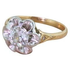 Retro 0.99 Carat Old Cut Diamond Engagement Ring