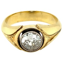 Retro 1.10 Carat Diamond Solitaire Unisex Gold Ring