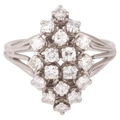 Retro 1.10 Carat Diamonds Marquise 18 Carat White Gold Platinum Ring