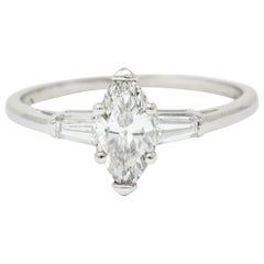 Retro 1.10 Carat Marquise Cut Diamond Engagement Ring GIA