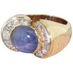 Retro 11.00 Carat Star Sapphire and 1.04 Carat Old Cut Diamond Ring