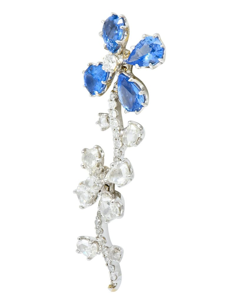 Pear Cut Retro 11.52 Carat Diamond Sapphire Platinum Articulated Flower Earrings For Sale
