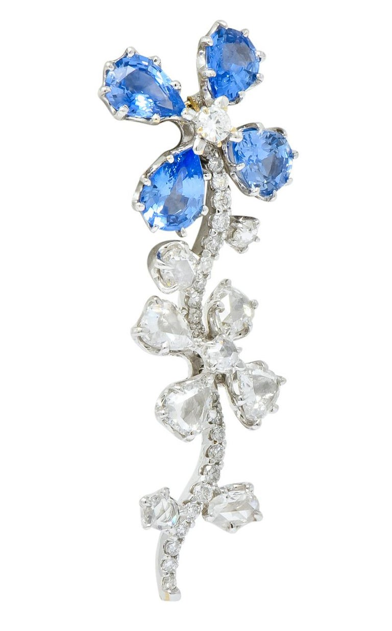 Retro 11.52 Carat Diamond Sapphire Platinum Articulated Flower Earrings In Excellent Condition For Sale In Philadelphia, PA