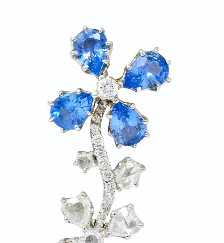 Women's or Men's Retro 11.52 Carat Diamond Sapphire Platinum Articulated Flower Earrings For Sale