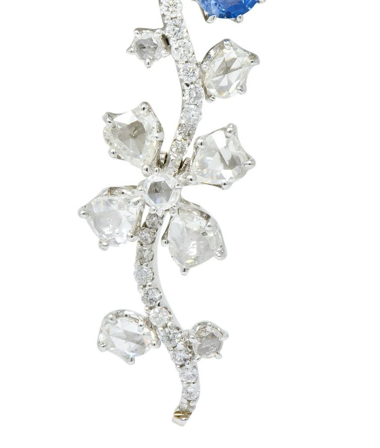 Retro 11.52 Carat Diamond Sapphire Platinum Articulated Flower Earrings For Sale 1