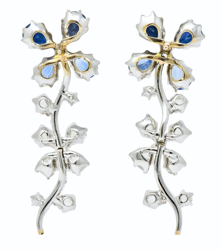 Retro 11.52 Carat Diamond Sapphire Platinum Articulated Flower Earrings For Sale 2